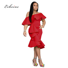 Echoine Elegant Dress Women Cascading Ruffle Oblique Collar Off Shoulder Irregular Hem Party Evening Dames Vestido Woman Clothes oblique shoulder ruffle trim knot cuff spot blouse