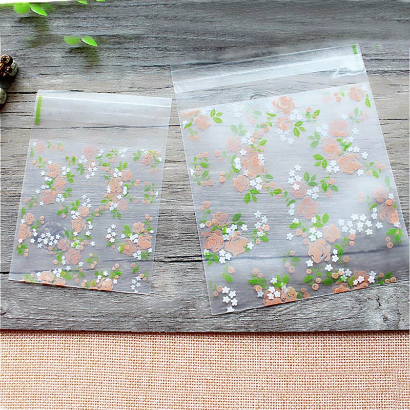 50pcs 7/10cm Rose Flowers Candy Cookie Bags Wedding Party Gift Bag Thick Self Adhesive Plastic Biscuit Baking Packaging Bag