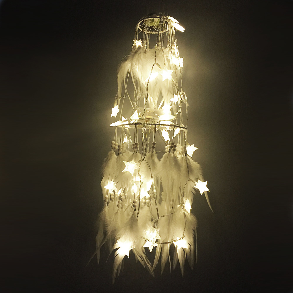 Big Led Star Light Dreamcatcher With White Feather Pearl