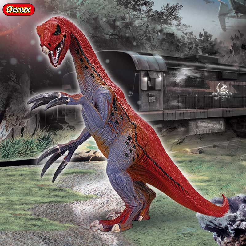 Oenux Jurassic Dinosaurs Toy Carnivorous Therizinosaurus Dinosaur Mouth Can Open Action Figures High Quality Dinosaur Model Toys oenux prehistoric jurassic carnivorous dinosaurs walking tyrannosaurus rex t rex world action figures dinosaur toy for kid gift