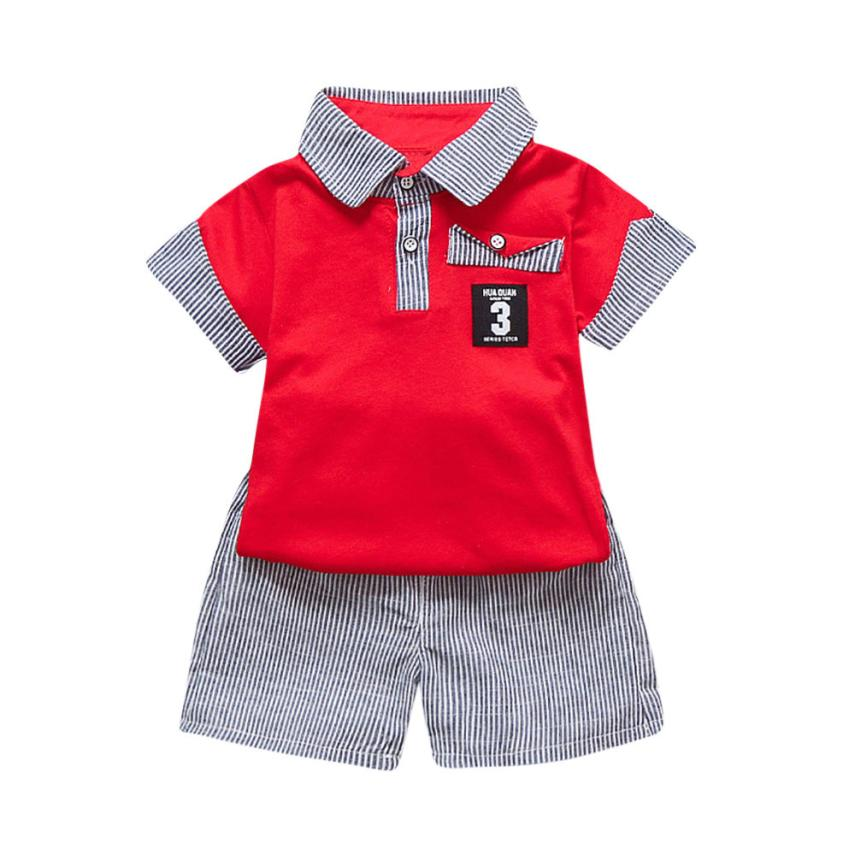 Summer Baby Boy Striped Lapel Letter Top + Stripe Shorts Set 2 Piece Set Casual Fashion Toddler Cute Daily Sportswear in 2018r