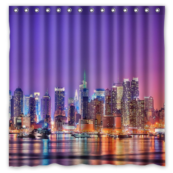 Hot New 180x180cm York City Waterproof Fabric Bathroom Shower Curtain Bath Curtains With 12pcs Hooks Rings