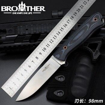 Hermano F001  cuchillo Bushcraft supervivencia cuchillo recto Camping caza  táctico hecho a mano de alta calidad de la EDC herramienta da060d911c4