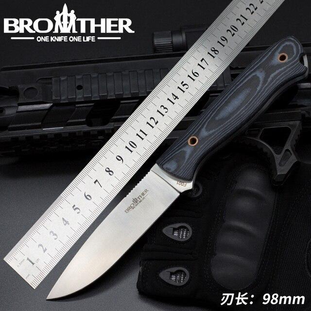 سكين نصل ثابت [BROTHER F001] سكين نجاة مستقيمة سكين تكتيكي للصيد والتخييم مصنوع يدويًا أداة EDC عالية الجودة
