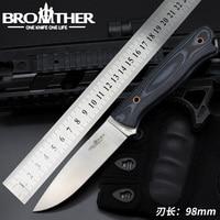 [Irmão f001] lâmina fixa faca bushcraft sobrevivência faca reta tático caça acampamento artesanal de alta qualidade ferramenta edc|Facas|Ferramenta -