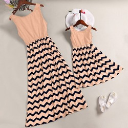 Striped Parent-child Dresses Casual Sleeveless Mini O-Neck Dress Simple Elegant Mother And Daughter Dresses 3