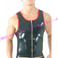 Fashion 2016 Sexy Black Sleeveness Latex Casual Tops For Man Rubber Tops In Front Zipper Plus