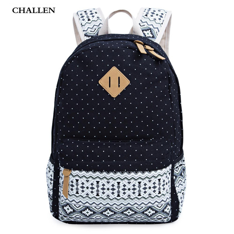 High Quality New Ethnic Preppy Style Zipper Backpack School for Girls Dot Canvas Computer Travel Women