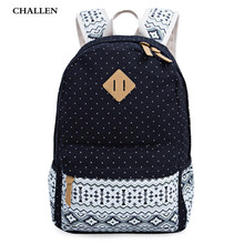 High Quality New Ethnic Preppy Style Zipper Backpack School for Girls Dot Canvas Computer Travel Women Portable Student Bag