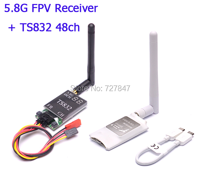 Mini 5.8G FPV Receiver UVC Video Downlink OTG + TS832 48Ch 5.8G 600mw Wireless Audio/Video Transmitter for VR Android Phone fpv mini 5 8g 150ch mini fpv receiver uvc video downlink otg vr android phone