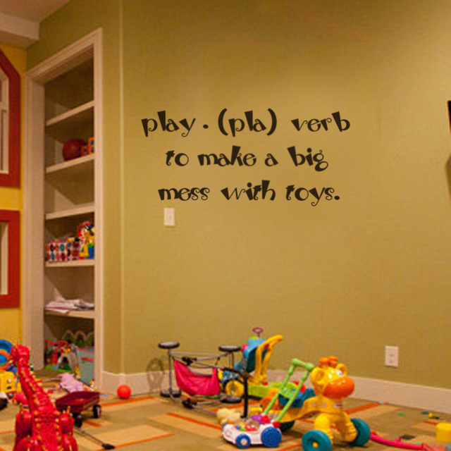 kids wall art children playroom wall decals play pla verb to make a big mess with toys baby. Black Bedroom Furniture Sets. Home Design Ideas