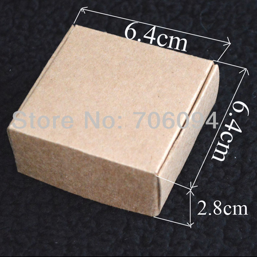 6.4*6.4*2.8CM,100pcs/lot, Free Shipping Jewerly kraft paper box Brown kraft handmade gift boxes,custom box logo kraft paper box