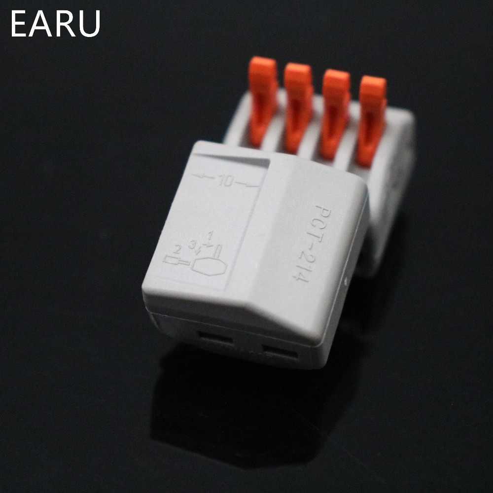 10 шт. PCT-214 PCT214 WAGO 222-414 Универсальный компактный провод жгут проводов Разъемы разъем 4 Pin, проводниковый Блок рычаг подходит для
