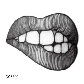 rocooart cc6329 6x6cm sex temptation lip tatouage old school style fake tattoo women temporary tattoo sticker