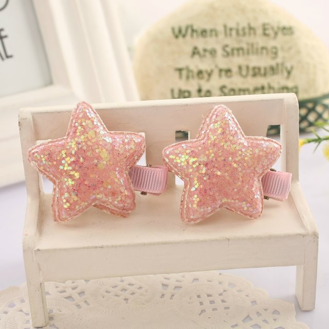 2pcs/pack Sequin Star Baby Girls Hair Clip Accessories Headwear Kids Children Barrettes Hairpins kk1028 6pcs lot kids glitter color hair snap clip kids stars headwear five pointed stars hairpins hair accessories