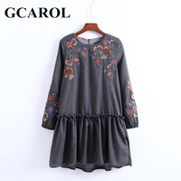 GCAROL Women Embroidered Floral Ruffles Dress Vintage Floral Dress  High Quality Elastic Cuff Spring Autumn Winter Draped Dress