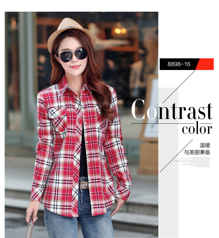 19 Brand New Winter Warm Women Velvet Thicker Jacket Plaid Shirt Style Coat Female College Style Casual Jacket Outerwear 32