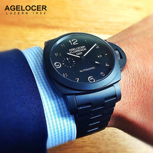 AGELOCER Luxury GTM Luminous Function Mens Watches Automatic Mechanical Watch Fashion Military Black Ceramic Case relojes hombre