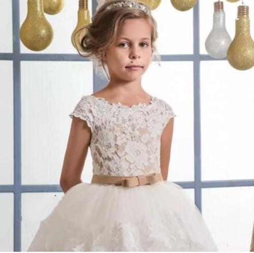 2018 Same Étage Avec Dentelle Personnalisé Première Communion Robe Fleur Blanc Vintage Tulle Robes Pic Longueur As Pour Puffy Fille Mariages Bow USazP4qn