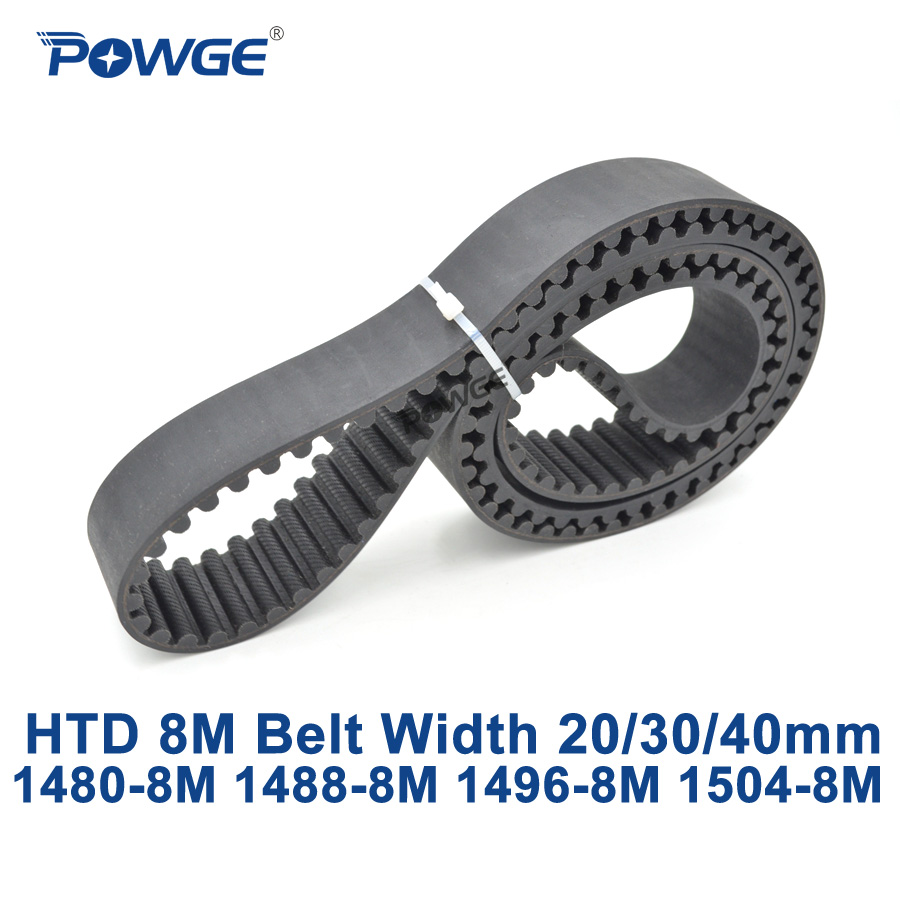POWGE HTD 8M synchronous Timing belt C=1480/1488/1496/1504 width 20/30/40mm Teeth 185 186 187 188 HTD8M 1480-8M 1488-8M 1504-8MPOWGE HTD 8M synchronous Timing belt C=1480/1488/1496/1504 width 20/30/40mm Teeth 185 186 187 188 HTD8M 1480-8M 1488-8M 1504-8M