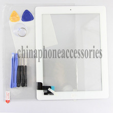 New Original Quality Replacement Touch Screen Digitizer Glass Lens + plastic frame repair part For iPad 2 2nd Gen White+ tools