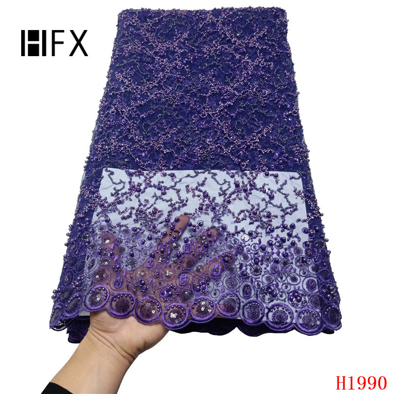 HFX heavy beaded lace fabric handmade 3d flower luxury french net lace 2019 bridal lace fabric