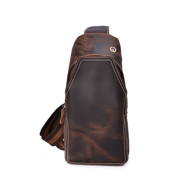 YISHEN Vintage Fashion Crazy Horse Leather Men Chest Bag Casual Male Crossbody Bags Handmade Shoulder Bags Retro Chest Bag MSXB3 men s bags chest pack casual single shoulder back strap male bag split leather high capacity chest bag crossbody leather