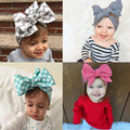 Fashion Baby Colorful Girls Cotton Accessories BeBe Hair Striped HeadWrap Turban Children Bow Headband for Kids Flowers Hairband
