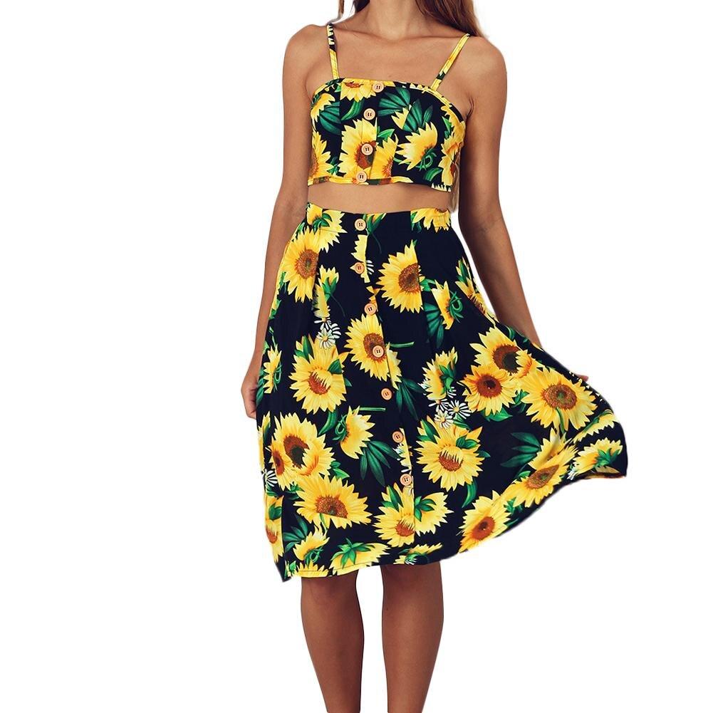Summer Women 2 Piece Set 2018 Sexy Sunflower Print Strapless Women Sets Crop Top And Skirt Beach Outfits Maxi Dress