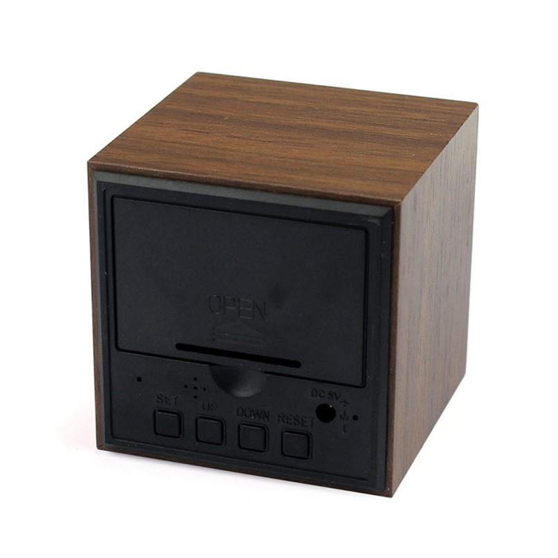 Wall Clocks New Clock Watch Home Decoration Mini Cube Style Digital Red LED Wooden Wood Alarm Brown Clock Voice Control #4NV27 (3)