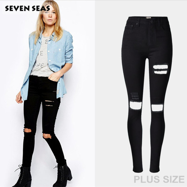 New Fashion Ladies Black Ripped Jeans Woman High Waisted Skinny Jeans Femme  Stretch Denim pants with holes jean taille haute f3a3f17d88cc