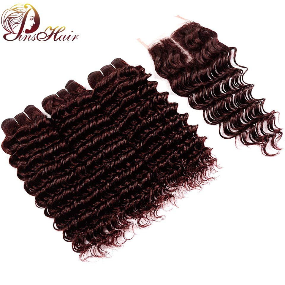 Burgundy Bundles Red 99J Malaysian Deep Wave Hair Bundles With Closure Pinshair Non Remy Deep Wave Human Hair With Lace Closure