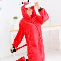 LIN YUN Cartoon Pajama Women Autumn Onesies Red Cattle Pajamas Flannel Loose Home Wear Animal Shape