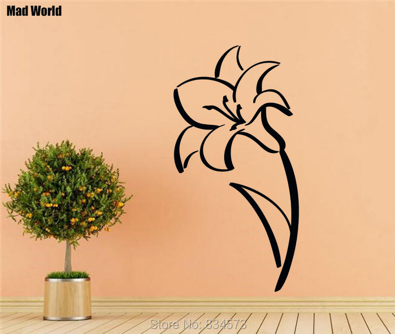 Mad World Flower Sketch Beautiful Floral Wall Art Stickers Wall ...
