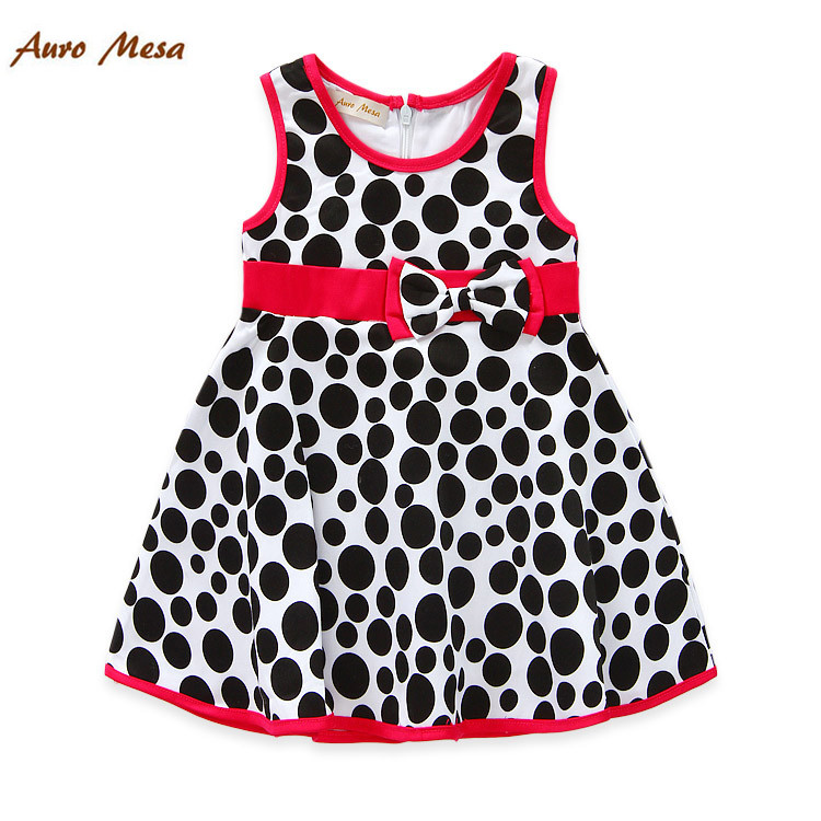 Fashion Milan Wave Point Baby Vestidos 100% Cotton Sleeveless Kids Princess Dresses Summer Girl Frocks