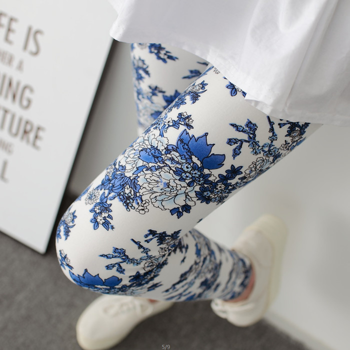 Hot 2019 Blue And White Porcelain Printing Women   Leggings   Pant High Waist High Elasticity Flowers Printed   Legging