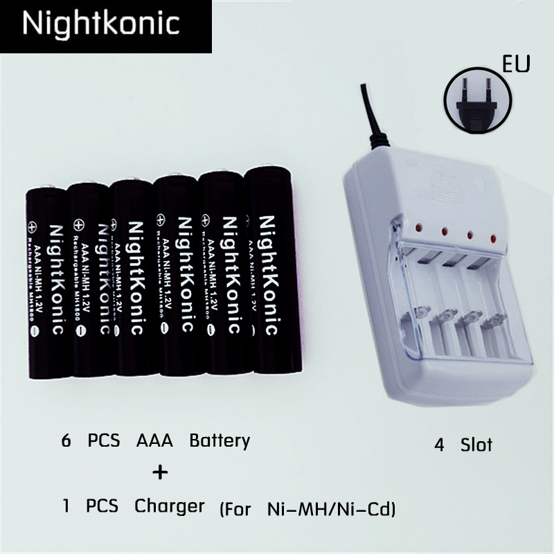 Nightkonic Brand  6 pcs/lot 1.2V  AAA Battery NI-MH  Rechargeable Battery  BLACK  + 1 PCS EU/US 4 slot Charger (for AA or AAA)