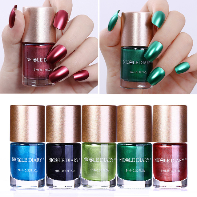 9ml NICOLE DIARY Metallic Nail Varnish Polish Red Blue Green Black ...