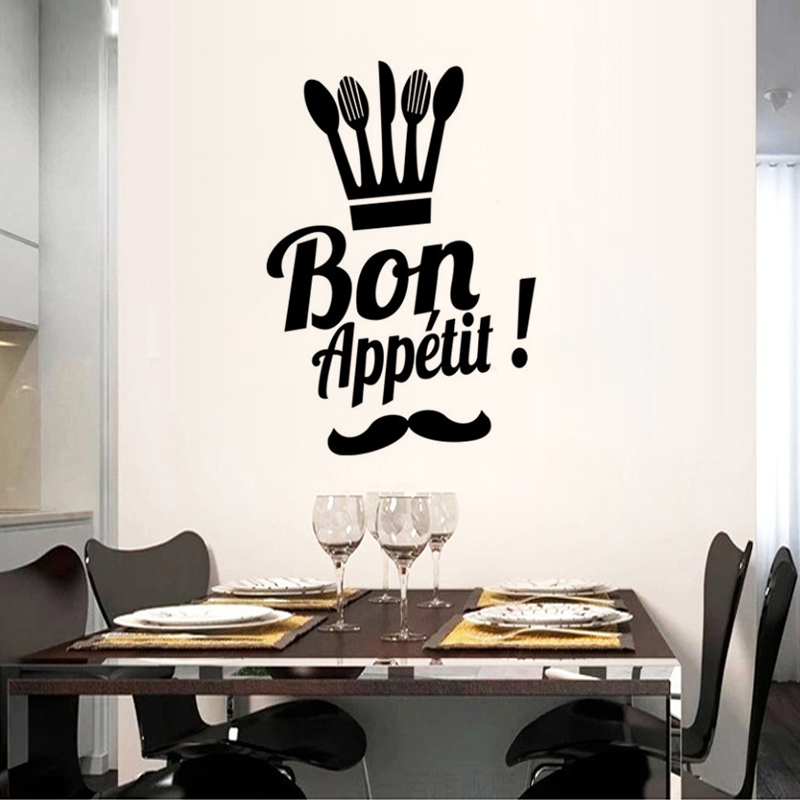 French Good Appetite Proverbs Kitchen Dining Room Home Decoration Vinyl Wall Stickers PVC Waterproof Art Wallpaper JG1509