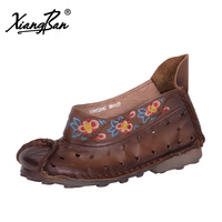 Women S Vintage Flat Shoes China National Embroidery Soft Leather Handmade High Cut Casual Shoes