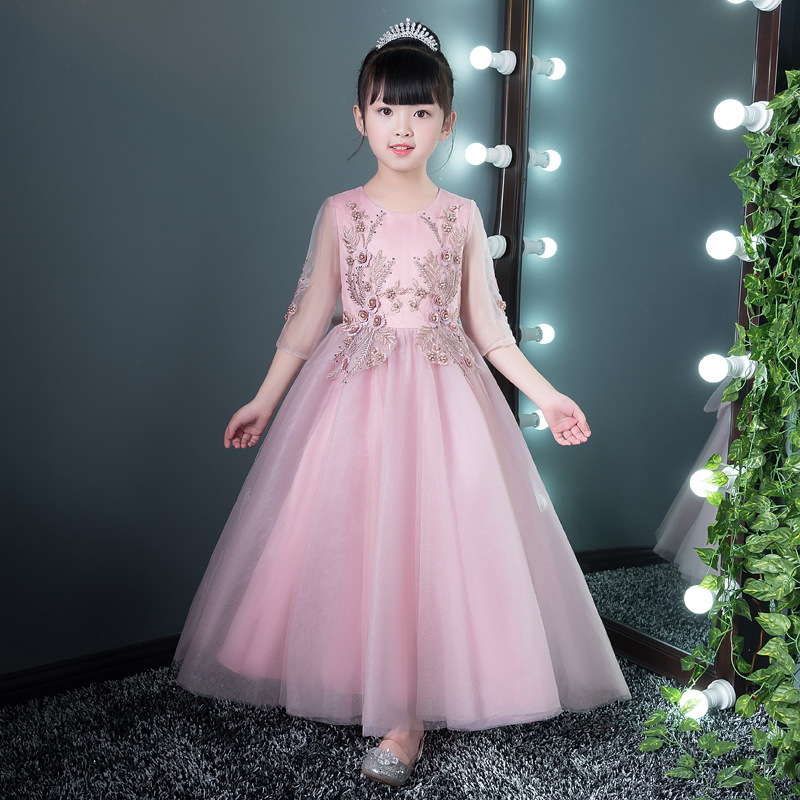 Girls Formal Dress for Birthday Costume Long Ball Gown Flower Girl Dresses Wedding Appliques Bowknot Evening Party Gowns K15 chiffon girls formal wedding dress flower girl evening dresses floor length kids graduation gowns children floral pleat costume