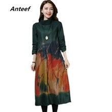 5a6620d4ca Z długim rękawem wełniana plus rozmiar vintage kwiatowy dorywczo luźna  jesień zima sukienka na imprezę eleganckie kobiety vestid.