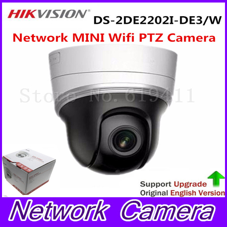 English Version Network IR MINI PTZ Dome Camera DS-2DE2202I-DE3/W 2.0 megapixel POE IP Camera 20M IR dhl free shipping english version ds 7108ni e1 v w embedded mini wifi nvr poe 8ch for up to 6mp network ip camera