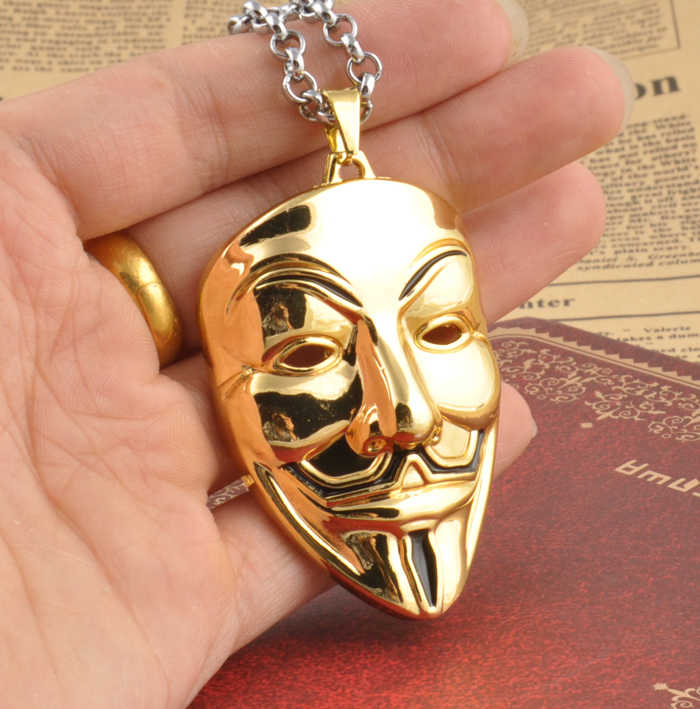 Fashion Movie Charm Gold V for Vendetta Mask Face Pendant Necklace Jewelry For Men And Women