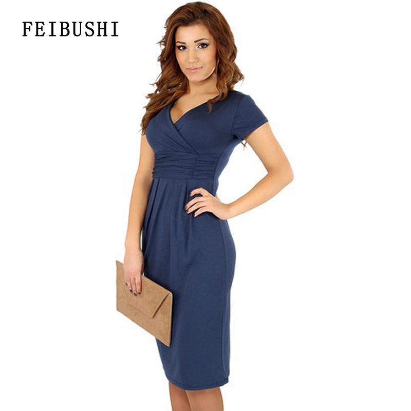 FEIBUSHI 2017 Hot Sales Womens Summer Elegant Sexy Cotton V-neck Short Sleeve Work Office Party Slim Casual Plus Size Fashion bodycon Dress