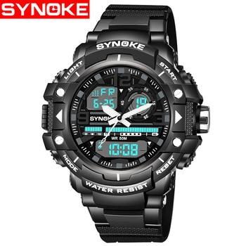 SKNOKE Stopwatch Chronograph Sport Watch Mens Digital Watches LED Watch Military Wristwatch Mens Clock Men Shock Watches