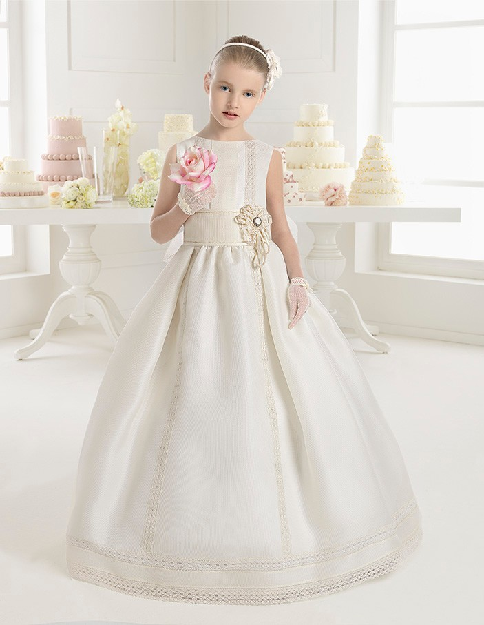2017 NEW   Flower     Girl     Dresses   Bow Satin Floor-Length   Girls   Pageant   Dresses   First Communion   Dresses   For   Girls   Vestidos De Comunion