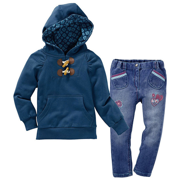 2014 autumn casual girls brand clothing sets 2pcs girl hooded coat + jeans pants Sets kids autumn clothing set baby outfits