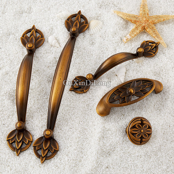 High Quality 20PCS European Carved Kitchen Door Furniture Handles Cupboard Wardrobe Drawer Wine Cabinet Pulls Handles and Knobs