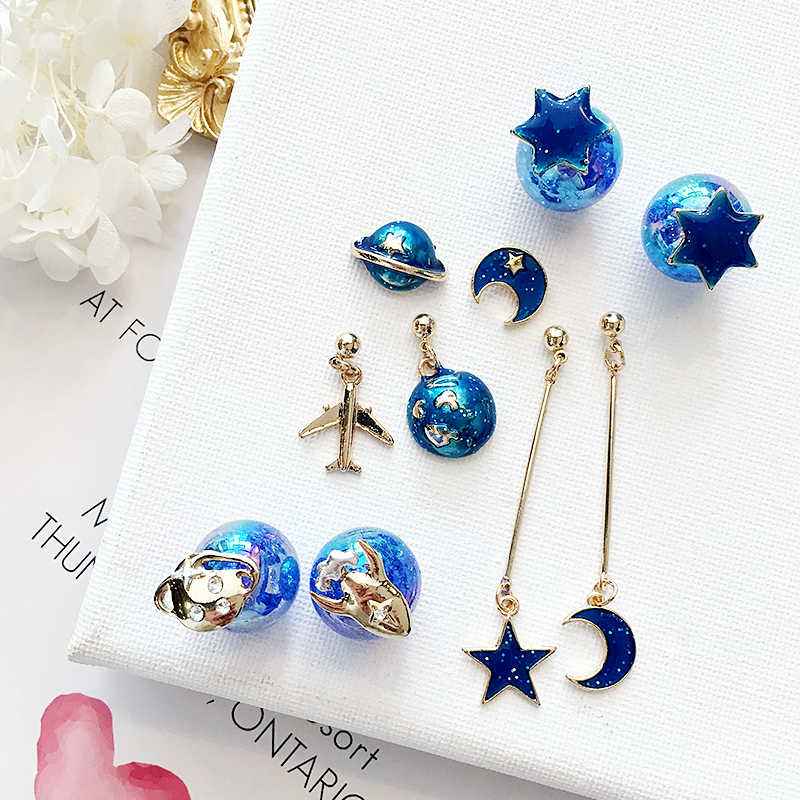 AOMU 2018 New Korean Japan Lovely Blue Universe Planet Star Moon Rocket Aircraft Stud Earrings for Women Girl Gift